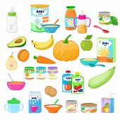 Baby Food Vector Child Healthy Nutrition Milk Fresh Juice With Fruits And Vegetable Mashed Puree For poster