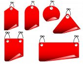 set of red tags