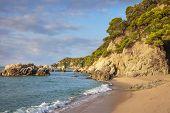 Beautiful Spanish Beach In Lloret De Mar. Cala De Boadella Platja, Spain, Costa Brava. Scenery Beach poster