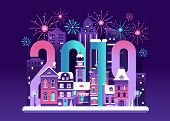 2019 New Year Eve Card With Europe Winter Night City And Fireworks. Snowy Christmas Street Flat Land poster