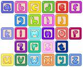 Colorful lower case alphabet blocks