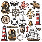 Nautical Symbols And Marine Sailing Or Seafarer Icons. Vector Ship Navigation Equipment, Frigate Sai poster