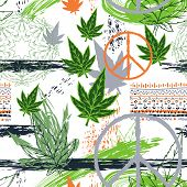 Seamless Pattern With Cannabis Leaves, Hippie Peace Symbol, Ethnic Ornament And Grunge Brush Strokes poster