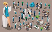 Isometric Set 5, Bank Icons With Bank Employees, Woman Bank Worker, Customer Service Manager. Financ poster