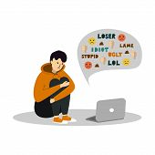 Young Teenage Boy Sitting In Front Of The Laptop On White Background. Cyber Bullying. poster