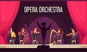 Theater Opera Orchestra Onstage Performance With Violinist Harpist Fluitist Musicians Conductor Red  poster