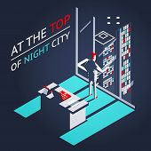 Businessman Top Night City Penthouse Office Workroom Laptop Documents Isometric Flat Design Concept  poster