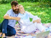 Couple With Laptop Relax Natural Environment. Couple Bearded Man And Blonde Woman Relax Nature While poster