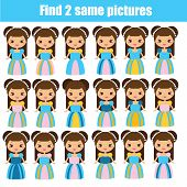 Find The Same Pictures Children Educational Game. Find Pairs Of Cute Princess poster