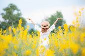 Asian Young Woman Enjoy And Stretching Her Arms With Sky Background In Nature Yellow Flower Farm, He poster
