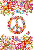 Shirt print on white background with colorful floral summery border and hippie peace flowers symbol poster
