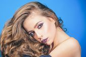 Makeup Cosmetics And Skincare. Beauty Salon And Hairdresser. Fashion Girl With Glamour Makeup. Fashi poster
