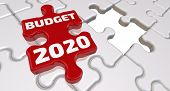 Budget 2020. The Inscription On The Missing Element Of The Puzzle. Folded White Puzzles Elements And poster