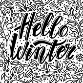 Christmas Greeting Card With Hello Winter Text And Hand Drawn Doodle Elements, Vector Illustration O poster