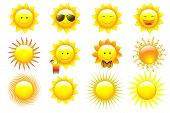 Vector Set Cartoon Sun Characters, isolated On White
