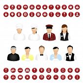 Restaurant People Icons And Map Icons Vector Set, Isolated On White Background, Vector Illustration