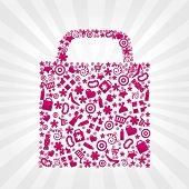 Bag For Shopping With Beams And Stars, On Grey Background, Vector Illustration