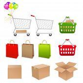 Colección para hacer compras de carro, cesta, cajas y paquetes