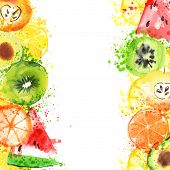 Fresh Fruit Watercolor Banner. Watercolored Apple, Citruses, Avocado And Qiwi In One Banner With Spl poster