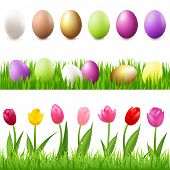 6 Easter-Eggs, Eggs In Grass And Grass Panorama, Isolated On White Background, Vector Illustration
