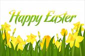 image of easter flowers  - Happy Easter Greeting Card - JPG