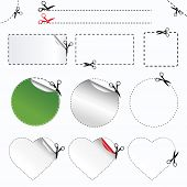Blanks Advertising Coupon Cut From Sheet Of Paper,  Isolated On White Background, Vector Illustration