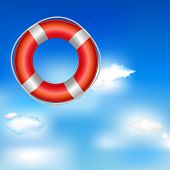 Red Life Buoy In Bue Sky With Clouds
