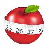Red Apple With Measurement, Isolated On White Background, Vector Illustration