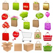 Shipping Box And Shopping Bags, Vector Illustration