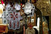 stock photo of fatima  - Moroccan Khamsa hamsa Hands of Fatima Good Luck in medina souk - JPG