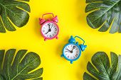 Small Alarm Clocks And Tropical Palm Leaves On Yellow Background. Summertime Minimal Creative Concep poster