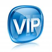 Vip Icon Blue Glass, Isolated On White Background.