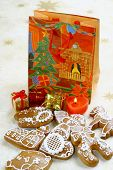 picture of x-max  - Christmas still life with  gingerbread and presents - JPG