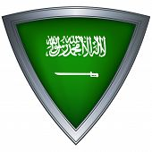 Steel shield with flag Saudi Arabia