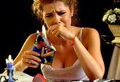 Burning photography kissing newlywed. Broken heart woman. Couple break up. Sad bride on unhappy wedd poster