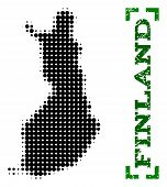 Halftone Map Of Finland And Rubber Caption. Vector Green Title With Corners And Scratched Rubber Tex poster