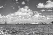 Sailboats, Ship And Boat Sail In Blue Sea On Cloudy Sky In Gustavia, St.barts. Sailing And Yachting  poster