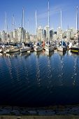 Sailboats In A Vancouver Marina With Mast Reflections