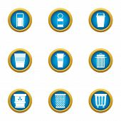 Consumption Basket Icons Set. Flat Set Of 9 Consumption Basket Vector Icons For Web Isolated On Whit poster