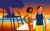 pic of beach sunset  - Vector illustration of young couple on tropical beach at sunset - JPG