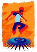 Vector illustration de jovem homem pulando de alegria