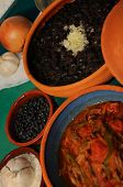 Detail of typical assorted cuban dishes over green surface