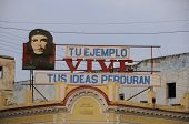 CIENFUEGOS, CUBA - OCT 26, 2008.Communist propaganda with Che Guevara image, one of the icons of the Cuban Revolution after 1959. Taken on oct 26th, 2008 in Cienfuegos, Cuba.
