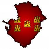 Map With Flag Of Poitou Charentes