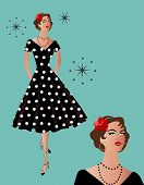 black polka-dot retro dress