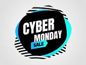 Cyber Monday, Discount Sale Concept. Inscription Design Template. Cyber Monday Banner. Vector Illust poster