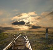 image of train track  - evening landscape with railroad rails - JPG