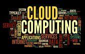 Wolke computing Konzept in Wort Tag-Wolke auf schwarz