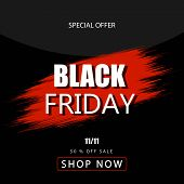 Black Friday Sale Banner Over Black Background. Red Blot With Text On Black Background. Black Friday poster