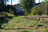 Railway Pointwork Element, Steel Pivot, High Speed Railway. Railway Landscape, Track Repair. Old Wor poster